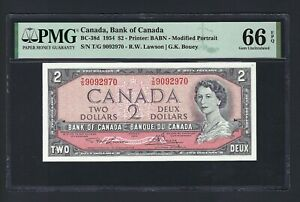 Canada 2 Dollars 1954 BC-38d Uncirculated Graded 66