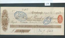 CHEQUE - CH1489 -  USED -1908 - ROYAL BANK OF SCOTLAND, EDINBURGH