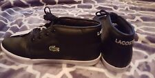 NWOB Lacoste Sport Ortholite Black Leather Sneakers Size 12 High Tops $100