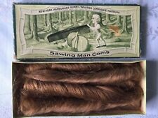 Antique Victorian Human Hair brown ringlet curlsin Germany sawing man comb box