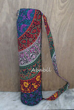 Handmade Multi Floral Mandala Hippie Yoga Mat Carrier Bag With Shoulder Strap