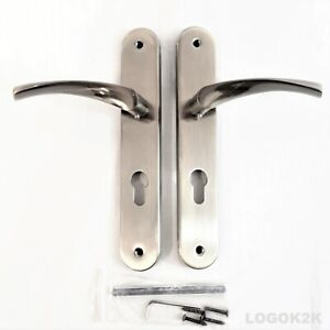 Lever On LONG Plate Door Handles   C TO C 72mm Euro Cyl. Shape  Handle   SATIN