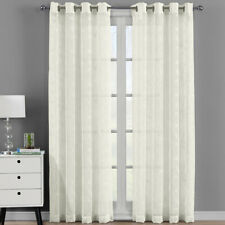 Pair (Set of 2) Brook Embroidered Grommet Top Sheer Panel Curtain Sets