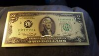$2 US Beautiful Gold & Green Foil Bill. No Cash Value! As a gift, to frame, etc.