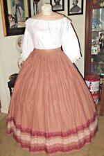 Civil War Dress~Victorian Style Homespun Cotton Burgundy Plus Size Plaid Skirt