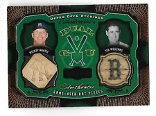 MICKEY MANTLE/TED WILLIAMS 2004 UD Etchings Dual Game Used Bat Piece /150
