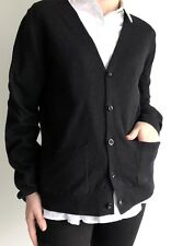 DRIES VAN NOTEN Black Button-Front Knit Cardigan Sweater L