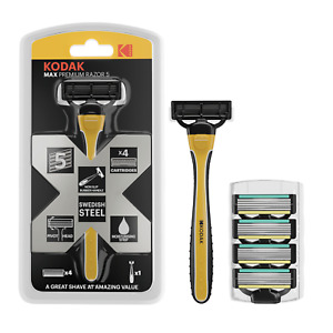 Kodak MAX Premium Razor 5 | Mens Razor Blades For Men's Grooming + 4 Refills