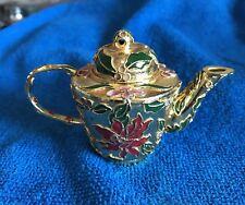 Nyco Miniature Gold Enamel Cloisonne Teapot Poinsettia Floral Design