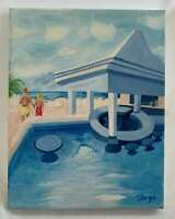 Painting Vintage  Folk Art Naive Couple Holding Hand Between Pool & Beach Tanga