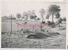 Foto, Wehrmacht, notdürftig hergerichtete Soldatengräber, (Q)1304