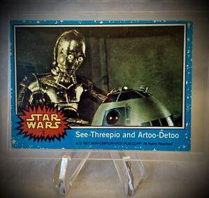 1977 STAR WARS - See-Threepio and Artoo-Detoo - Topps Series 1 (Blue) Card No. 2