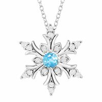 Natural Blue Topaz & Created White Sapphire Snowflake Pendant in Sterling Silver