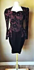 Vintage 1980s Cocktail Dress Scott McClintock Women S/M Black Red Velvet Glitter