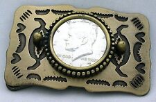 Antiqued Gold Southwest Western 1967 Kennedy 50 Cent Half Dollar Belt Buckle