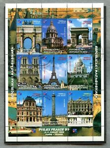 MADAGASCAR ~ 1999 ~ FRANCE ARCHITECTURE SOUVENIR SHEET ~ USED
