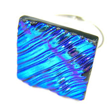 """Dichroic Glass Ring Sky Silver Blue Teal Ripple Wavy Texture Adjustable 3/4"""" 2CM"""