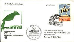 LUFTHANSA Erstflug MONTEVIDEO - SANTIAGO DE CHILE Briefmarke Stamp URUGUAY 1983