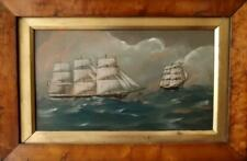 More details for antique british primitive maritime oil painting clippers in a swell