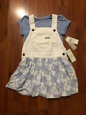BNWT Calvin Klein Jeans Girls 2 Piece Top & Pinafore Dress Size 4 100% Authentic