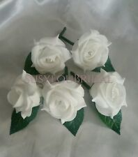 WHITE Buttonholes X 5.. Rose Diamante Wedding Guest Bridal Single Leaf