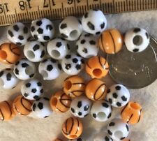 Beads-Sport Balsa- Basketball & Soccer-Crafts & Jewelry-50 Pc
