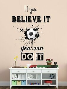 Football With Inspirational Quotes Wall Sticker Mural Decals Vinyl Room Décor
