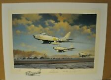 Hunting Party by Robert Watts - F-86 - Signed by Four  Pilots  REMARQUED