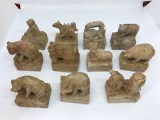 Set 11 Chinese vintage hand carved soapstone New Year Animal Figures signed base