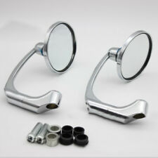 1 Pair Chrome Round Bar End Rearview Side Mirror Adjustable For Cafe Racer New
