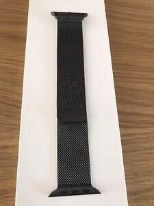 Genuine Apple Watch Milanese Loop 42/44mm Stainless Steel Black Pristine