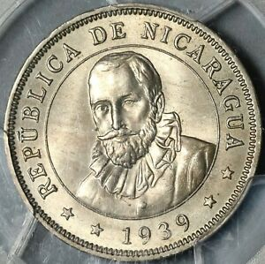 1939 PCGS MS 64+ Nicaragua 50 Centavos Volcanos Cordoba Coin POP 1/0 (21012003D)