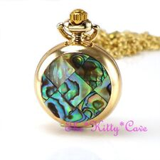 Half Hunter Steampunk Necklace Fob Watch Miniature Gold Pl Abalone Mosaic Pocket