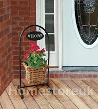 FREE STANDING WELCOME PORCH RATTAN BASKET FLOWER PLANT POT PLANTER HOME WWP