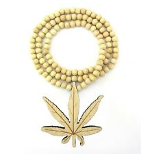 """Weed Cannabis Marijuana Leaf Pendant Wooden Necklace Music Wood Beads 36"""" Chain"""