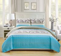 Fancy Linen Over Sized Quilt Bedspread Floral Off White Turquoise All Sizes New