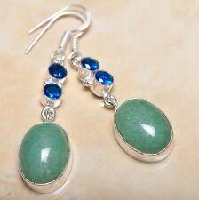 """Handmade Green Natural Chrysoprase 925 Sterling Silver Earrings 2.25"""" #E00085"""