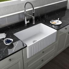 """White Rectangle Ceramic Farmhouse Apron Kitchen Sink SIngle Bowl 30"""" L x 18"""" W"""