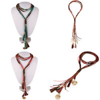 Boho Women Pendant Long Sweater Chain Multilayer Leather Choker Chunky Necklace