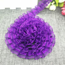 New 5 yards 2-Layer 20mm Purple Organza Lace Gathered Pleated Sequined Trim UK16