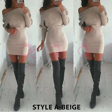 UK Womens Long Sleeve Bodycon Off Shoulder Jumper Dress Ladies Christmas Party