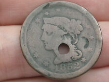 1852 Braided Hair Large Cent Penny- Good Details, Holed