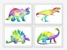 Set of 4 Dinosaur Prints watercolour prints nursery art boys bedroom painting