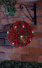 28CM DIAMETER 20 LED WARM WHITE RED ROSE SOLAR TOPIARY BALL