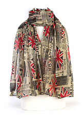 Women/Girls Brown Newspaper Fashion Union Jack Large Maxi Scarf  Wrap Sarong **