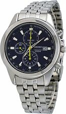SEIKO DRESS CHRONOGRAPH DATE BLUE DIAL STAINLESS STEEL MEN'S WATCH SNDF03 NEW
