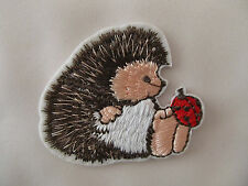Hedgehog with Lady Bird Bug Iron on Applique Patch