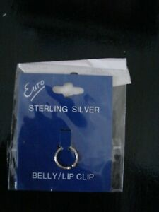 Sterling Silver 925 Semi Hoop Belly or Lip Clip ~ NEW ~ Sealed in Pack