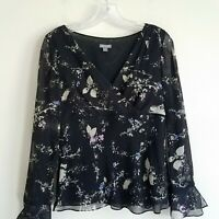 Ann Taylor Silk Floral Blouse Top Sheer Black Pink Tan Blue Women's Small S
