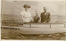Family in Mayflower Boat Studio Photograph Real Photo Postcard RPPC